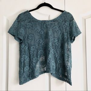 Kimchi Blue Open Tulip Back Teal Lace Top Small